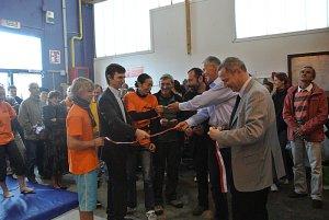 Patrice Dunand lors de l'inauguration du mur d'escalade à l'Espace Perdtemps